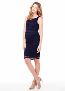 New Ingrid & Isabel Maternity Navy Sleeveless Stretch Lace, Fitted Dress S 4 6