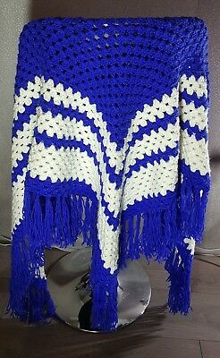 100% Vero Blu/bianco Handmade Crochet Scialle/sciarpa Taglia Xl Grande Regalo Di Natale-mostra Il Titolo Originale