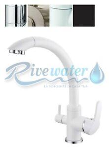 Rubinetto tre 3 vie ottone spazzolato 3//8 a 2 leve per osmosi depuratore acqua