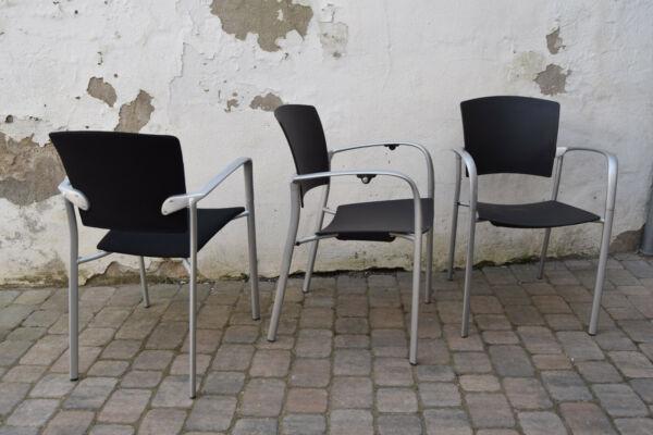 3 Stühle Stapelstuhl Enea Eina 2 X Plastik 1 X Stoffbezug Schwarz Gebraucht