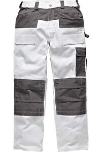 WHITE Cotton Pittori Decoratori Multi Tasca Cargo Pantaloni Ginocchio Pad Tasche
