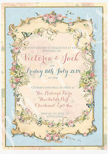 Image Is Loading Personalised Vintage Summer Tea Party Shabby Chic Wedding