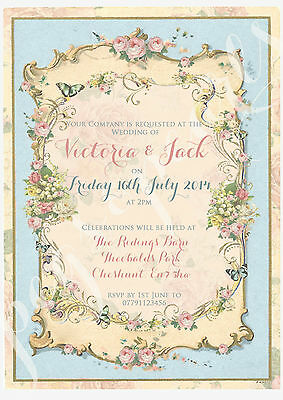 PERSONALISED VINTAGE SUMMER TEA PARTY SHABBY CHIC WEDDING INVITATIONS PACKS OF10