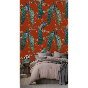 Red Peacock Removable Wallpaper Wall Covering Peel Stick Self Adhesive Ebay