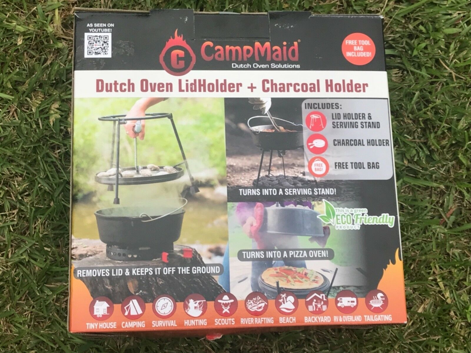 CampMaid 60005 2 Piece Set Dutch Oven Lid Lifter and Charcoal Holder Free Ship