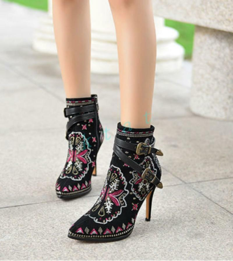 Ladies Embroidered  Leather Point Toe Zip Ankle Boots High Heel Stilettos Chic