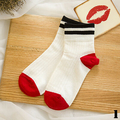Korean Style Candy Colors Womens Flanging Striped Short Soft Hosiery Socks 1Pair