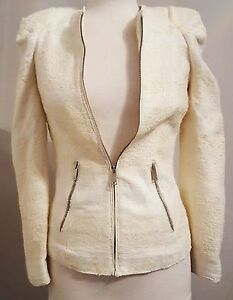 ZARA-Woman-IVORY-Cream-Jacquard-Wool-Blend-Woven-Zip-Blazer-Jacket-UK-XS-79-99
