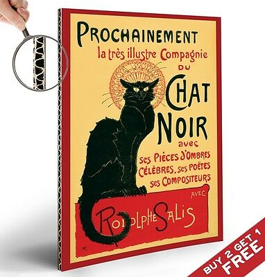 LE CHAT NOIR RETRO POSTER - THICK CARD BOARD A4 - VINTAGE FRENCH WALL ART DECOR