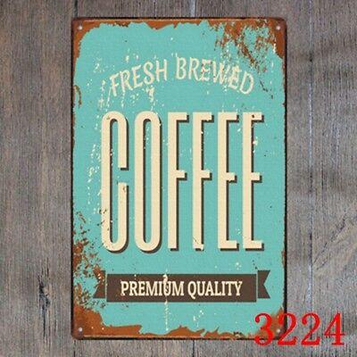 Metal Tin Sign brewed premium coffee Bar Pub Vintage Retro Poster Cafe ART