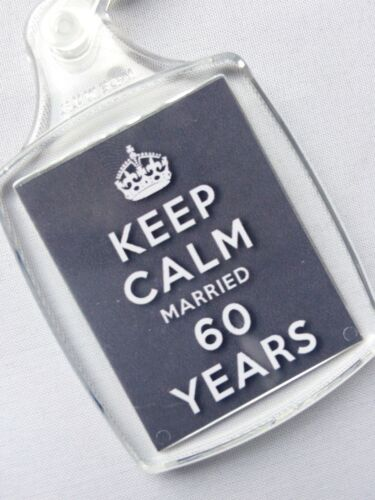 Keep calm 60th diamant mariage anniversaire porte-clés 60 ans de mariage