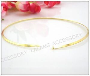 1pcs-160013-Wholesale-Gold-Plated-Oblate-Choker-Fit-Charms-Beads-13cm