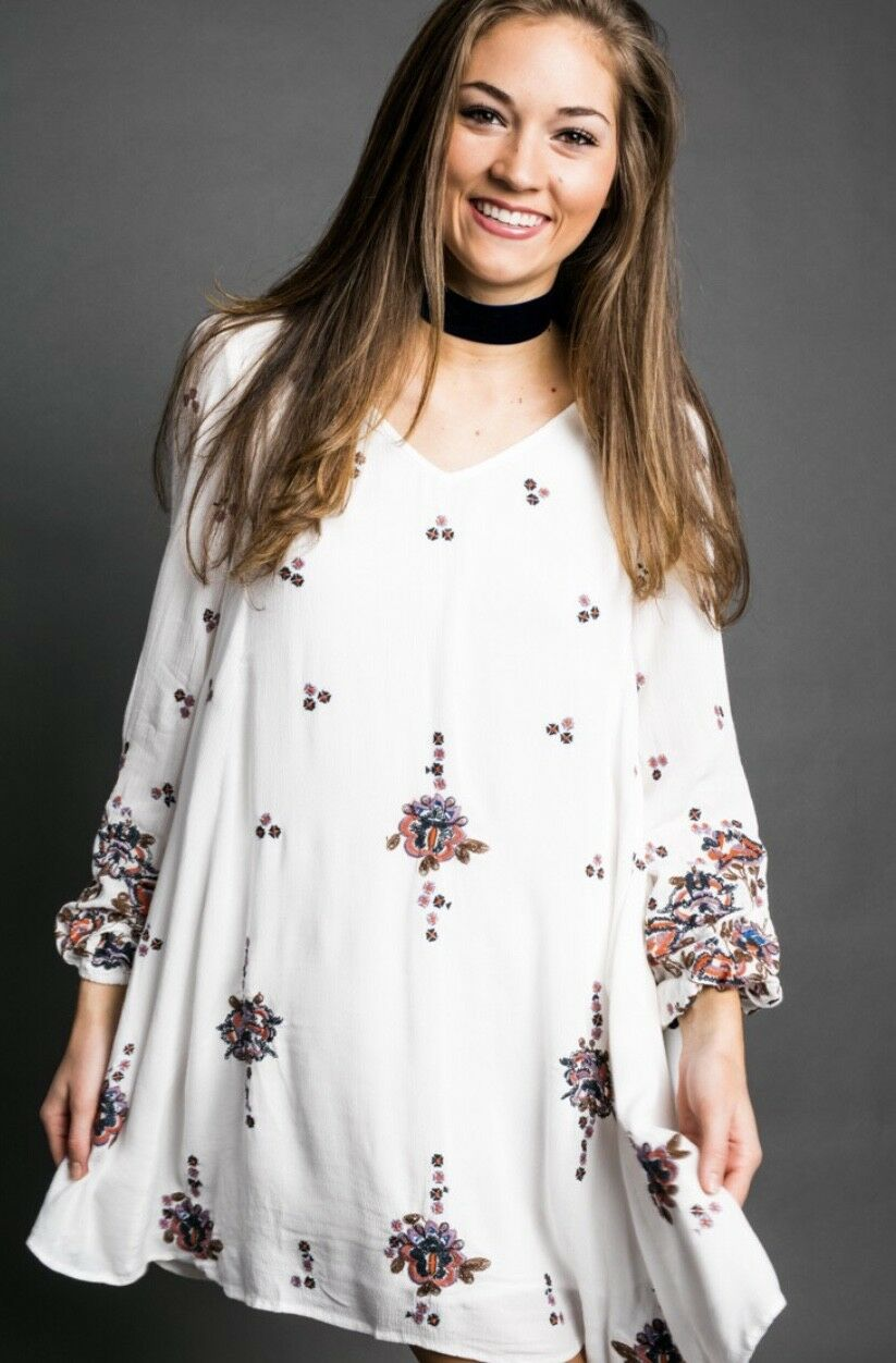 NEW Free People ivory multi Floral Embroiderot Cut Out Back Swing Dress S