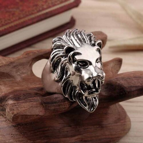 Stainless Steel New Lion/'s Head Ring Men/'s Vintage Cool American Unique Ring