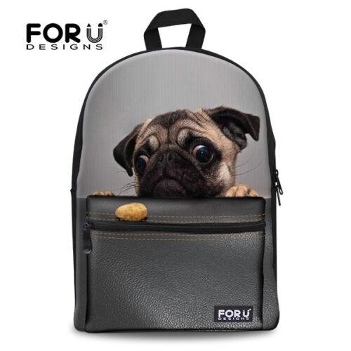 FOR U DESIGNS Backpack Cute Animal Pug Pet School Bag For Boys Girls Rucksack