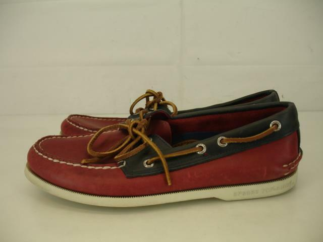 Mens 7.5 M Sperry Top-Sider A O Authentic Original Leather Boat shoes Red bluee