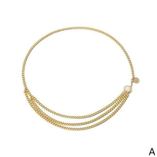 Women Fashion Belt Hip High Waist Gold Narrow Metal Chunky Chain Fringes N0O3