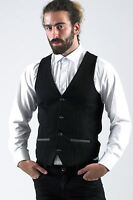 Mens Marc Darcy Designer Black Denim Look Tailored Slim Fit Waistcoat Vest