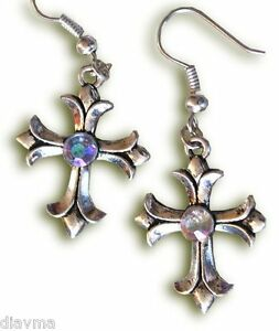 Beautiful-Antiqued-Silver-amp-Rhinestone-CROSS-EARRINGS