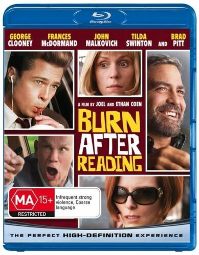 1 of 1 - BURN AFTER READING GEORGE CLOONEY BRAD PITT BLU RAY MOVIE DISC REGION B AUS B6