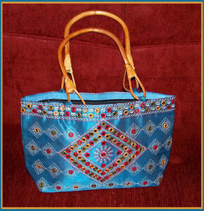 EMBROIDERED-SILK-BLEND-TOTE-HANDBAG-SHOPPING-BAG-PURSE-EVENING-BAG-FROM-INDIA
