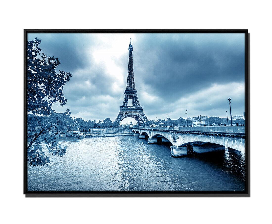 105x75cm Leinwandbild Petrol Eiffelturm Winter Regen Paris