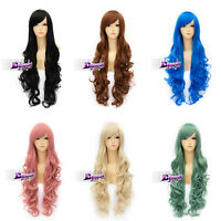 Long 80cm Basic Cosplay Synthetic Curly Wavy Wig Anime Women Hair + Free  Cap
