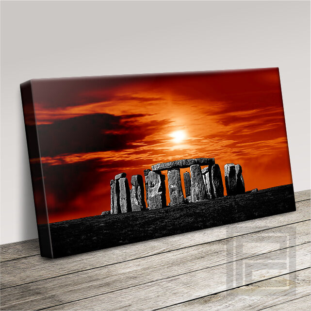 Coucher de soleil Toile Art Stonehenge Magestic Décor Pop Art Imprimé Photo Art Williams