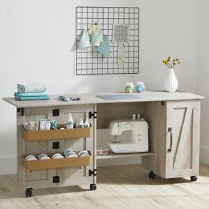 Wood Sewing Machine Cabinet Craft Table Organizer Stitching Farmhouse Storage Ebay