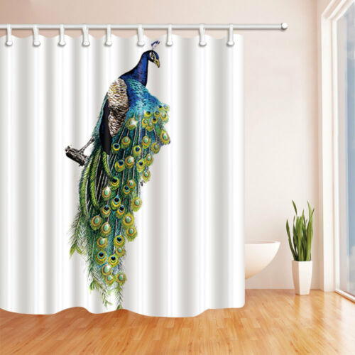 Peacock Polyester Shower Curtain /& Bath Rug Mat Contour 12 Hooks Bathroom Set