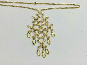 "Vintage Necklace Pendant Gold Tone Green Gems Runway Long Ornate Dangle 20"""