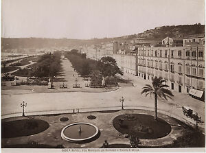 Italia-Napoli-Villa-Rimorchi-Vintage-Albumina-Ca-1875