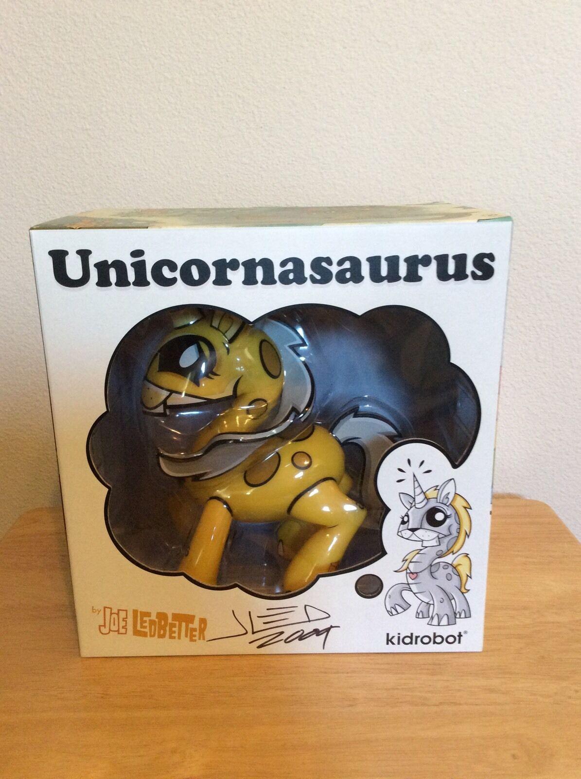 SIGNED - Joe Ledbetter Yellow Unicornasaurus Kidrobot Vinyl 8  Figure + Photo