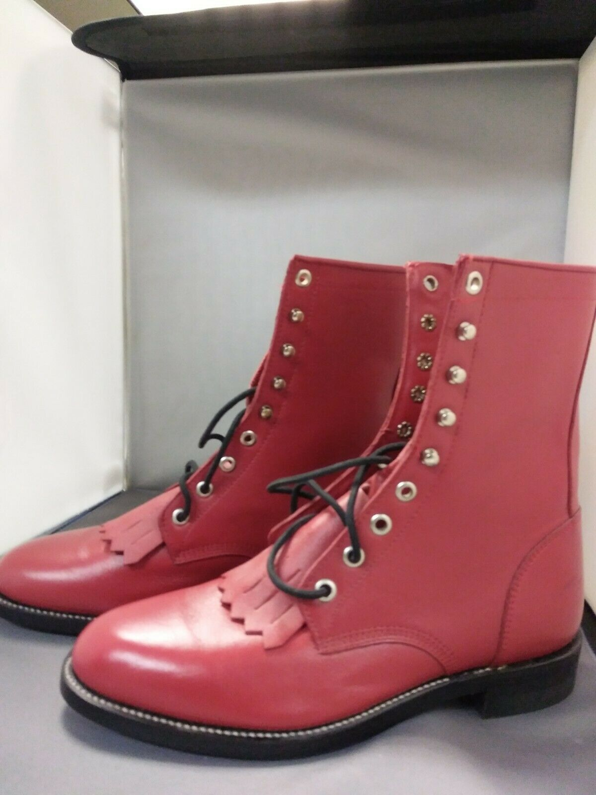 JUSTIN BOOTS-WOMEN'S RED LEATHER  LACERS