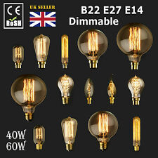 Dimmable E27 E14 B22 40/60W Edison Vintage Filament Candle Globe Light Lamp Bulb