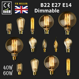 Dimmable-E27-E14-B22-40-60W-Edison-Vintage-Filament-Candle-Globe-Light-Lamp-Bulb