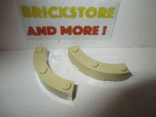 2x Brique Brick Round Corner 4x4 Macaroni 48092 Tan//Sand Lego
