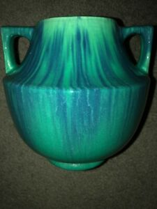 Muncie-Pottery-Large-Two-Handle-Vase-Gloss-Blue-Over-Green-Shape-464
