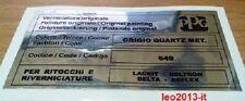 Lancia delta hf integrale 16 valvole evo 1 adesivo colore ppg grigio quartz met