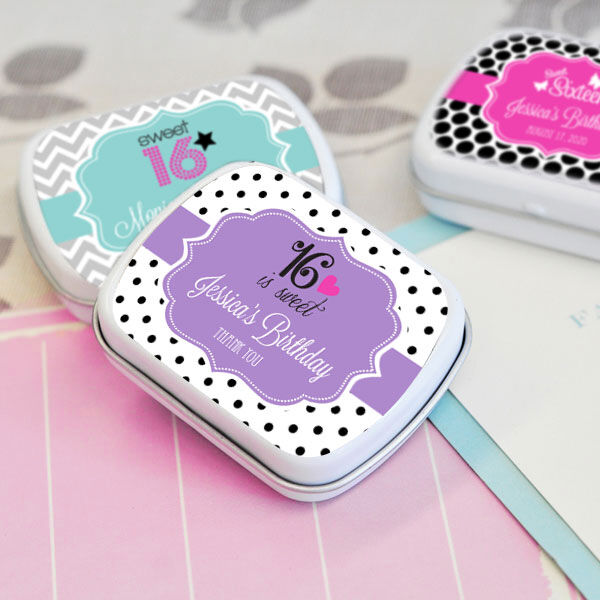 48 Personalized Sweet 16 Mint Tins Favor Boxes Favors