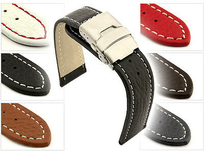 Mens Leather Watch Band Strap Freiburg Deployment Clasp 18 mm 20mm 22mm 24mm 26
