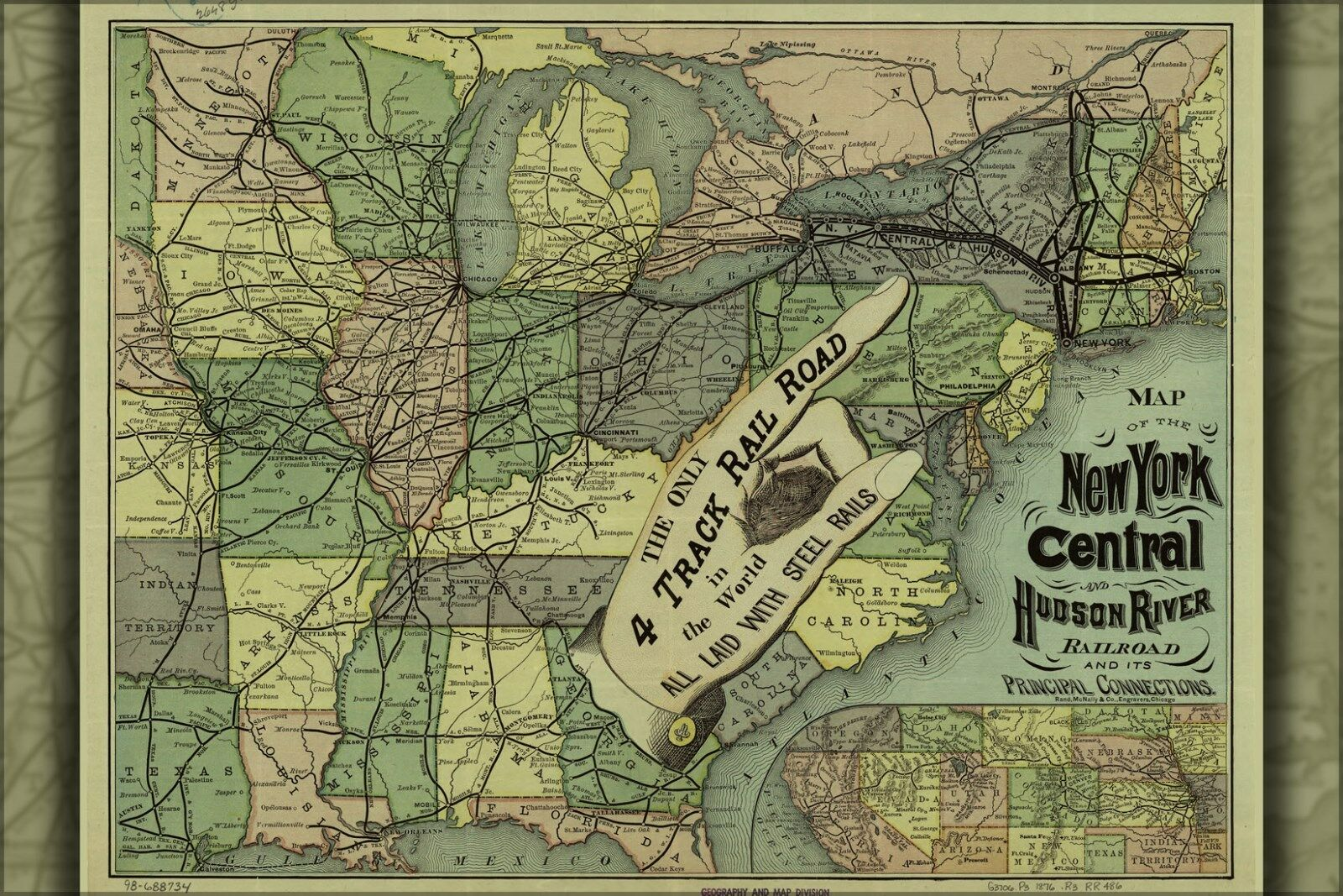 Plakat, Viele Größen; Karte New York Mittig Hudson Fluss Eisenbahn 1876
