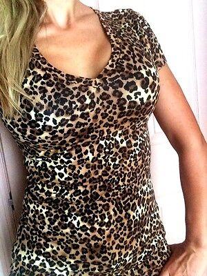 BROWN BLACK ANIMAL t-shirt LEOPARD tee shirt V-neck COTTON S M L XL 1X 2X 3X