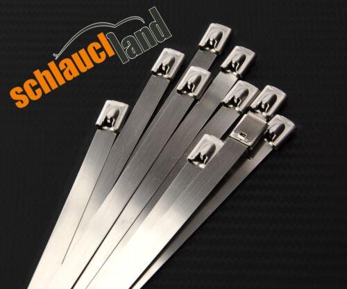 10x Kabelbinder Edelstahl 4,6 x 250 mm *** Metall Stahl V2A Hitzeschutzband SS