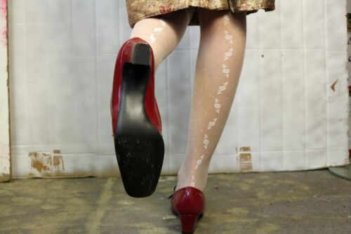 da donna '70 da donna da da anni Ballerine in Scarpe Ovp donna donna Truevintage Scarpe Cherry vernice Scarpe c17ZwOqCC