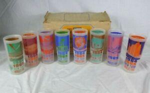NOS Set of 8 Vtg 1964-65 Anchor Hocking New York Worlds Fair Bar Glasses W/ Box