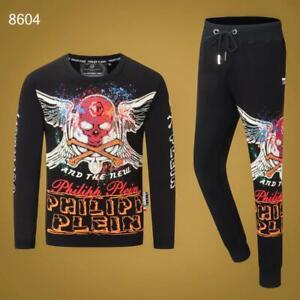 PHILIPP-PLEIN-Black-Skull-Men-Long-Sleeve-Sports-Suit-PS8604-Size-M-3XL