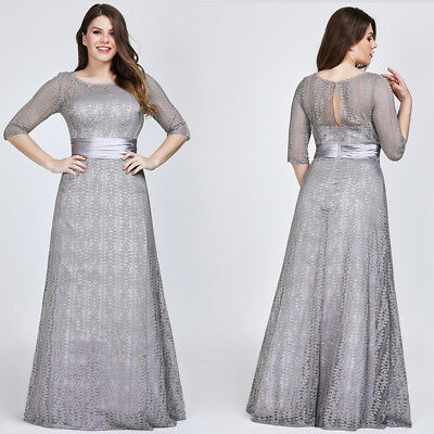 Ever-Pretty US Plus Size Grey Long Bridesmaid Evening Dress Lace Backless  08878 | eBay
