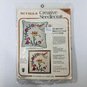 Vtg-Bucilla-Crewel-Embroidery-Kit-The-Birds-Nest-Creative-Needlecraft-12x12in