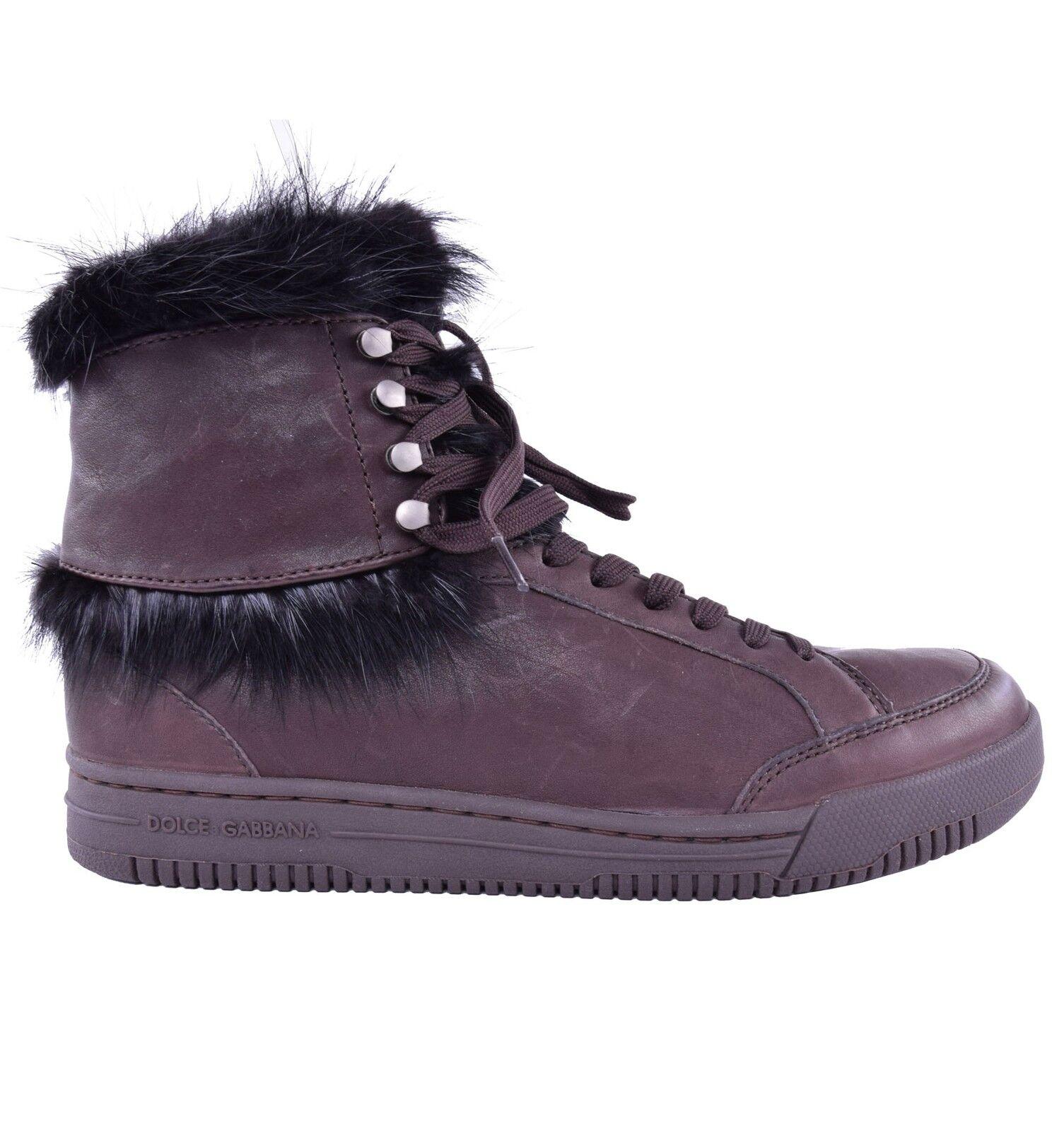 DOLCE & GABBANA High-Top Zapatos Pelz Sneaker Braun Fur Zapatos High-Top Sneakers Marrón 03959 46ba7c